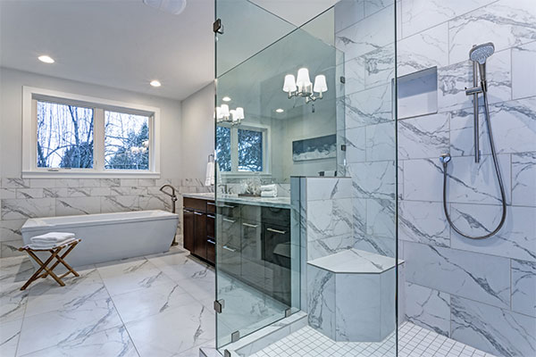 Shower floor tiles marble