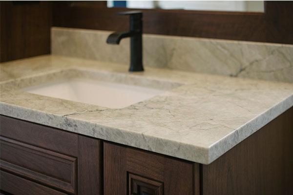 Bathroom counter with backsplash