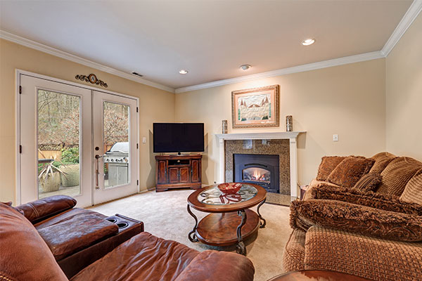 granite fireplace surround in the living room