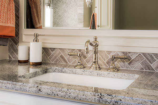 Granite bathroom countertop with sink