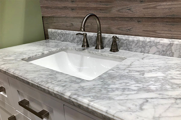 Marble bathroom counter with sink