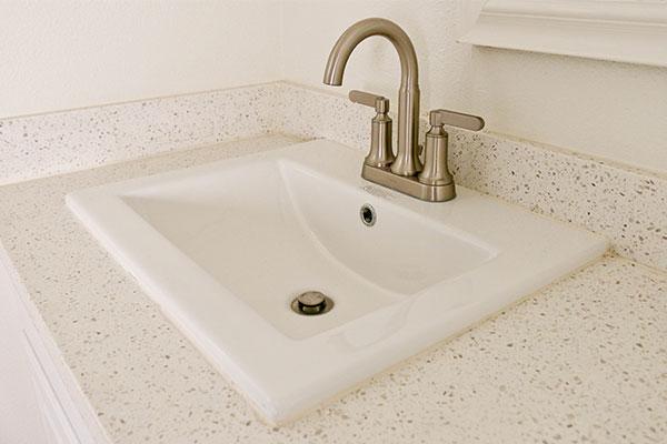 Quartz bathroom counter with sink